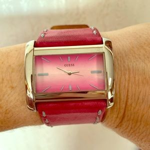 Guess Pink Watch with 💯 Leather Band